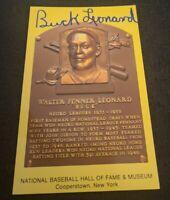 BUCK LEONARD SIGNED MLB HOF PLAQUE POSTCARD HOMESTEAD GREYS NEGRO L W/COA+PROOF