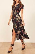 REFORMATION Black Floral Print WILMA Button-Down Crepe Midi Maxi Shirt-Dress 8 M