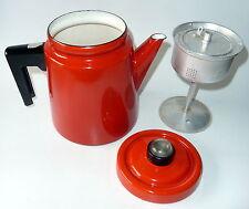 Antti Nurmesniemi Finel Pehtoori Coffee Pot Red Enamel 1957 Finland