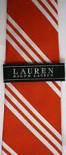Ralph Lauren Tie Orange White Stripe Silk Classic Width Hand Made NWTS