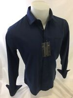 Mens CAVIAR DREMES Designer Shirt Woven BLUE ABSTRACT Roar With Class NWT CD4554