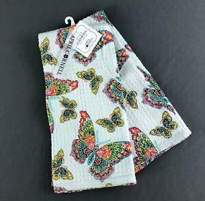 April Cornell Tea Towels Set of 2 Multicolor Butterflies Butterfly Cotton New