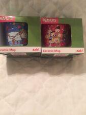 NEW LOT OF 2 Zak Peanuts A Charlie Brown Christmas Coffee Mug Cup Blue 10 oz