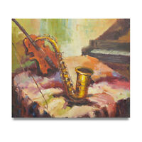 NY Art - Impressionist Violin, Saxophone & Piano 20x24 Oil Painting on Canvas!