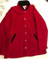 COLDWATER CREEK Womens Red Button up Fleece Jacket-Black Velvet Trim-Sz L