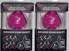Lot of 2 Hype Bomb Rechargeable Mini Portable Keychain Speaker 3.5mm PINK