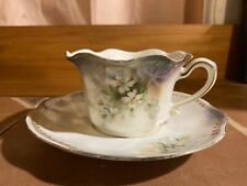 Antique RS Prussia Tea Cup and Saucer White Lily Gold Handpainted Trim Porcelain