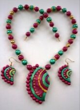 New Indian Terracotta Beads Pedant Necklace and Earrings Jewelry Set Pink Green