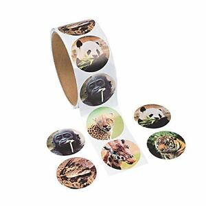 Realistic Zoo Animal Roll of Stickers 100 stickers
