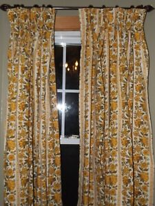 "2  Custom Pinch Pleat Vintage Floral Used Preowned Curtains - 26 W 82"" L"