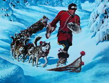 Canadian Mountie RCMP running in Snowshoes, Dog Sled Team by Arnold Friberg