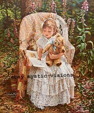 READING TO THEODORE Sandra Kuck CANVAS Signed Numbered w/coa Girl Cat Teddy Bear