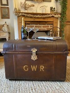 Antique Tin Trunk GWR Nice Japanning Paintwork Ideal Coffee Table With Key