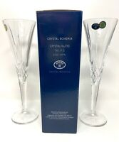 Bohemia CZECH Crystal CHAMPAGNE Flutes Set Of 2 Glasses  New In Box