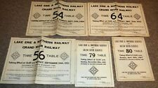 Lot of Vintage 1950's  60's Lake Erie Northern Railway Railroads Time Tables !!!