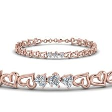 1ct Heart Cut VVS1 D Diamond Elegant Love Valentine Bracelet 14k Rose Gold Over