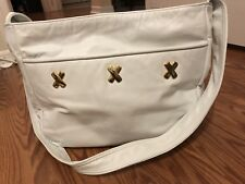 "Large White leather purse With Gold Tone ""X"" Embellishments"