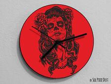Red Sugar Skull - Day of the Dead -Dia de Los Muertos - Calavera - Wall Clock