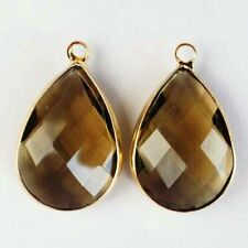 2Pcs 20x13x5mm Wrapped Faceted Brown Crystal Teardrop Pendant Bead SD2019628