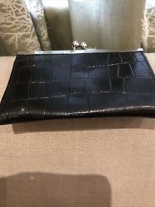 Vintage Osprey Black Leather Coin Purse