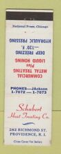 Matchbook Cover - Schubert Heat Treating Providence RI metal