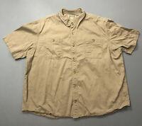Men's Duluth Trading Co Tan Short Sleeve Button Up Fishing Shirt Sz 3XL XXXL GUC