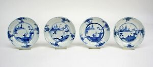 FOUR BLUE & WHITE CHINESE EXPORT PORCELAIN  SAUCERS  KANGXI PERIOD c. 1700/1720