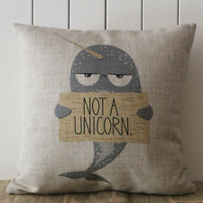 45*45cm Cartoon Narwhal Unicorn Pillow Case Cushion Cover Linen Sofa Home Decor