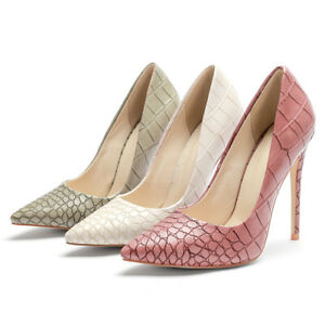 Women's Snakeskin Synthetic Leather Pointed Toe Pumps High Stiletto Heel Shoes