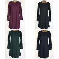 M&S Stretch Jersey Ribbed Swing Dress 4 Colours 8 - 18 Reg & Short (ms-292h)