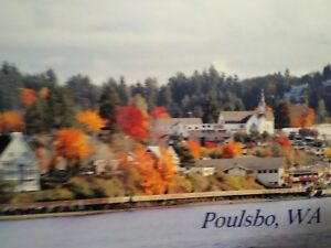 vintage post card AERIAL VIEW OVER POULSBO WASHINGTON