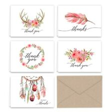 Paper Frenzy Boho Essence Thank You Note Cards and Kraft Envelopes 25 pack