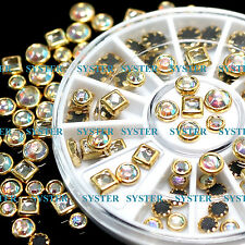 Nail Art Tips Decoration Square Round Multicolor Glitter Rhinestones #SB-080