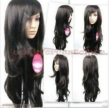 """30"""" Kanekalon Hair Wig Cos Harajuku long wind Wavy black hair wavy fashion wigs."""