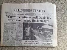The Times newspaper 27th February 1991 Iraq Kuwait Gulf War ORIGINAL