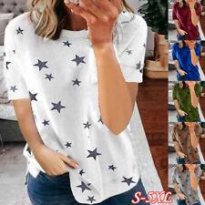 Women Summer Crew Neck Short Sleeve T Shirt Star Print Blouse Casual Holiday Top