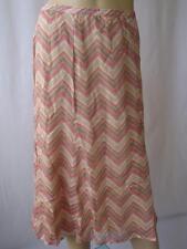Ladies Beige/Pink/Cream Striped Summer Skirt UK 12 EU 40