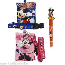 Disney Minnie&Mickey Lanyard With Detachable Coin Pouch/Wallet/Purse And Pen-New