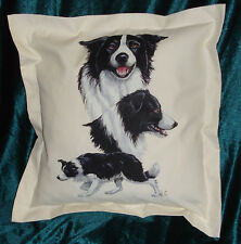 Hand Crafted Border Collies dog cushion cover