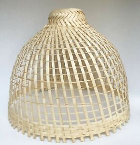 Thai Coop Hanging Lamp Woven Bamboo Weave Vintage Handmade Asian
