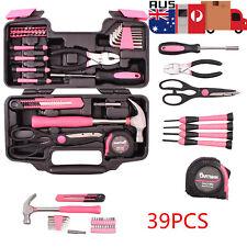 39PCS Pink Tool Set Household Kit Womens Ladies Carrying Toolbox Repair Box Case