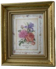 """Small Gold Framed Floral Wall Hanging Picture Print Dahlia Iris Rose 6 1/4"""" x 7"""