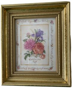 "Small Gold Framed Floral Wall Hanging Picture Print Dahlia Iris Rose 6 1/4"" x 7"