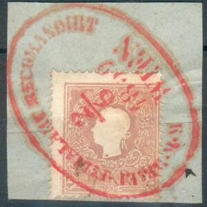 Österreich Kleines Briefstück mit Mi.-Nr.14Ii rot -Recommandiert Wien 2/6 1859
