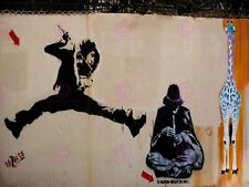 Photography Graffiti Mural Street Wall Flying Flute Canvas Art Print