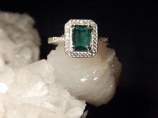 .72 Ct. Emerald Cut Brazilian Emerald and White Zircon Sterling Silver Filigree