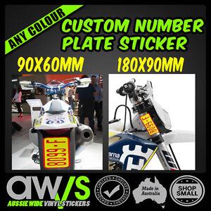 Dirt Bike Registration Sticker Decal Rec Reg Motorbike Rego Plate Custom Trails