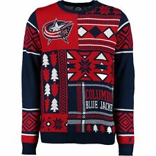 Klew NHL Men's Columbus Blue Jackets Patches Ugly Sweater