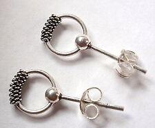 Bali Ball Stud Hoop Earrings 925 Sterling Silver Corona Sun Jewelry Dot