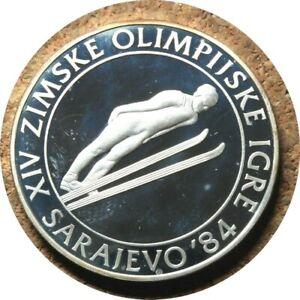 elf Yugoslavia 500 Dinara 1983 Proof Silver Olympics Ski Jumper